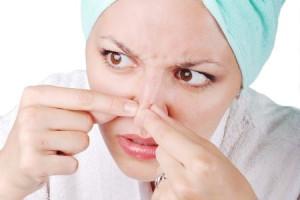 Achne on female face