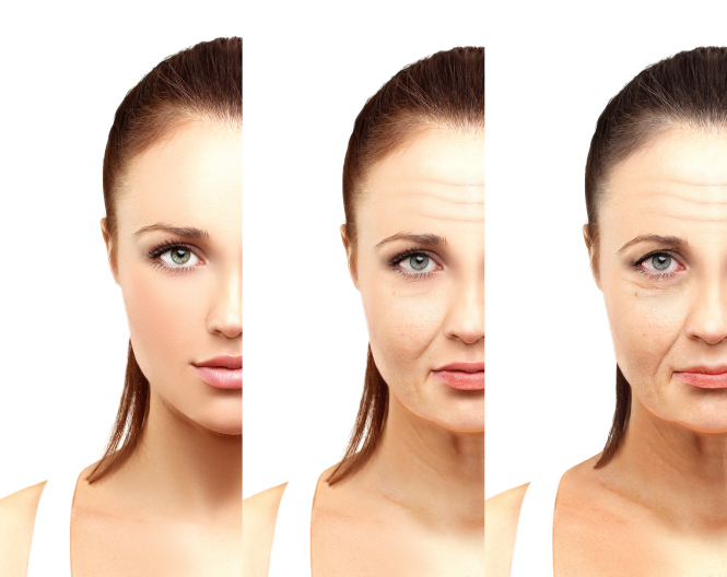 Aging. Mature woman-young woman. White background.